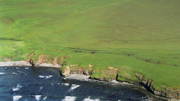 Вид сверху на остров Зеленый из группы островов Хабомаи Южно-Курильской гряды. Архивное фото