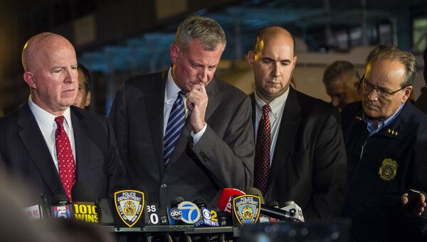 Мэр Нью-Йорка Билл де Блазио и шеф полиции Джеймс О'Нил. Архивное фото