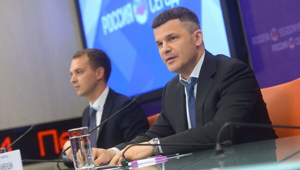 Брифинг председателя Совета директоров Московского аэропорта Домодедово Дмитрия Каменщика