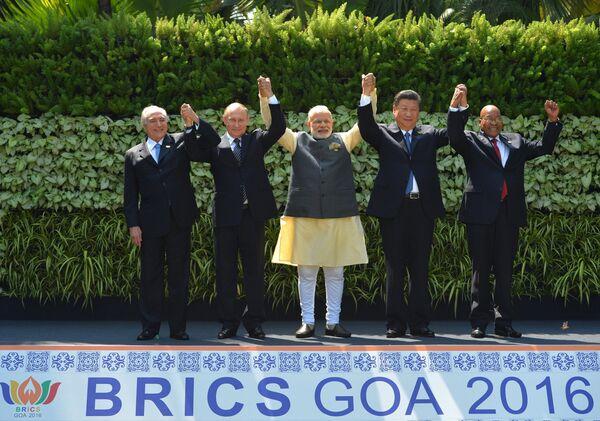 Церемония фотографирования лидеров стран БРИКС в отеле Taj Exotica индийского штата Гоа
