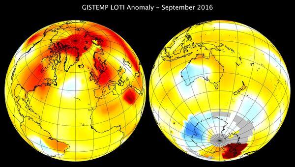 Температурные аномалии в сентябре. Данные НАСА