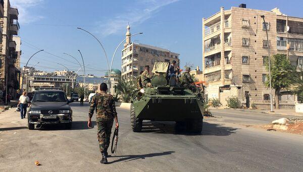 Агитационная бронемашина сирийской армии в Алеппо. Архивное фото