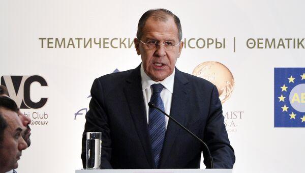 Сергей Лавров выступает на российско-греческом форуме гражданских обществ