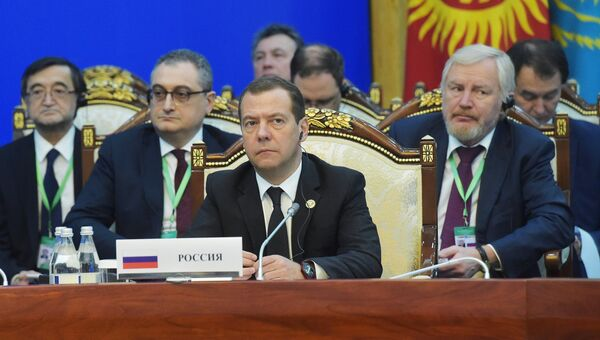 Дмитрий Медведев на заседании совета глав правительств государств - членов ШОС в Бишкеке. 3 ноября 2016