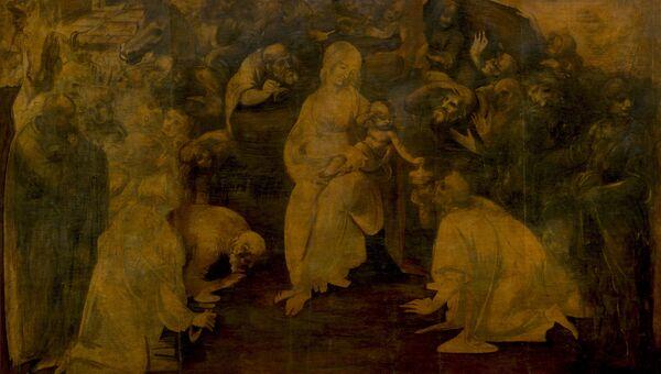 Картина Леонардо да Винчи Поклонение волхвов
