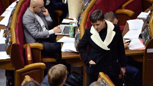 Надежда Савченко на заседании Верховной рады Украины в Киеве. Архивное фото