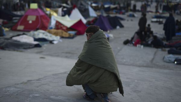 Мигранты на греческом острове Хиос. Архивное фото