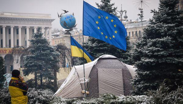 Палаточный лагерь сторонников евроинтеграции Украины на площади Независимости в Киеве. Архивное фото