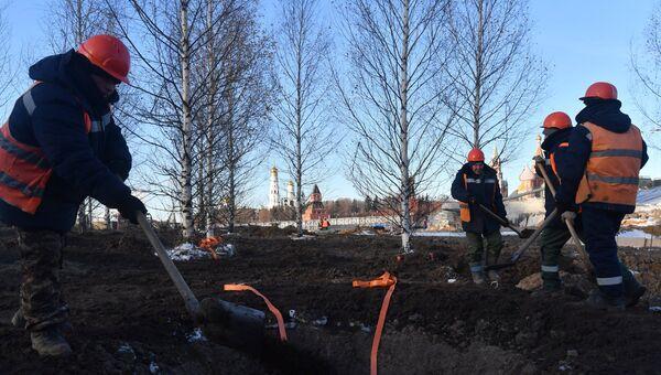 Рабочие высаживают деревья на строительстве парка Зарядье в Москве
