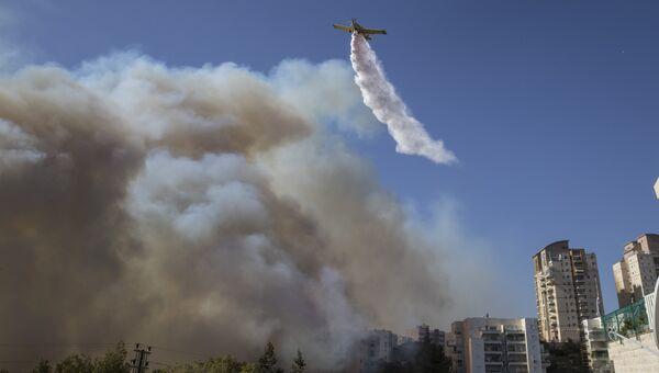 Израильский пожарный самолет во время тушения лесного пожара в городе Хайфа. Архивное фото