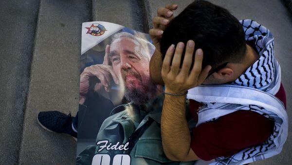 Палестинский студент скорбит о смерти Фиделя Кастро
