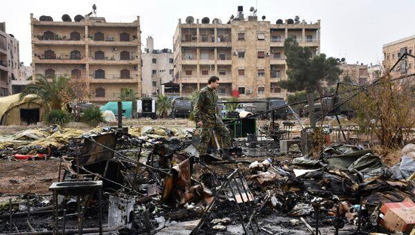 Мобильный госпиталь Министерства обороны РФ в Алеппо после обстрела. Архивное фото