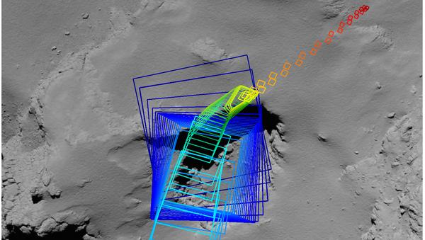 Траектория падения «Розетты», восстановленная инженерами ЕКА по фотографиям зонда