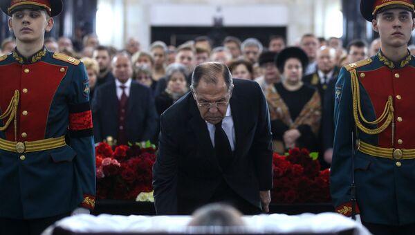 Министр иностранных дел РФ Сергей Лавров на церемонии прощания с послом России в Турции Андреем Карловым