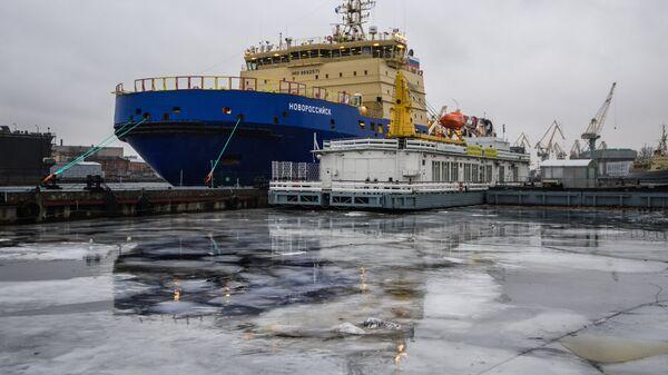 Церемония передачи ледокола Новороссийск Росморпорту в Выборге. 26 декабря 2016