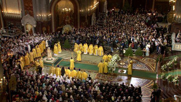 Рождественское богослужение в храме Христа Спасителя в Москве