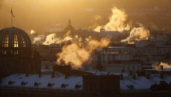 Морозное утро в Праге, Чехия. Архивное фото