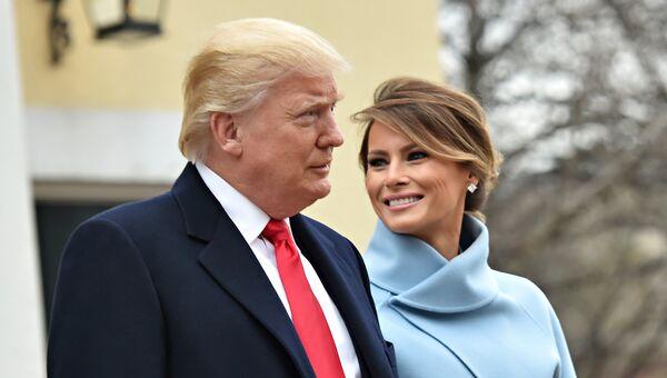 Избранный президент США Дональд Трамп и его жена Мелания возле церкви Святого Иоанна. 20 января 2017