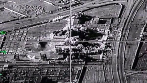 Уничтожение объектов террористов ударом самолета Ту-22М3 ВКС России в сирийской провинции Дейр-Эз-Зор