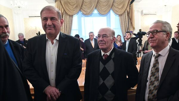 Представители сирийской оппозиции на встрече с министром иностранных дел РФ Сергеем Лавровым в Москве. 27 января 2017
