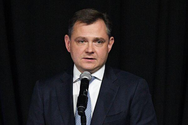 Президент ПАО ОАК Юрий Слюсарь выступает на презентации авиационного комплекса МиГ-35 в Московской области