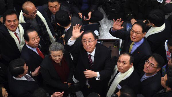 Бывший генеральный секретарь ООН Пан Ги Мун в аэропорту Сеула, Южная Корея. Архивное фото