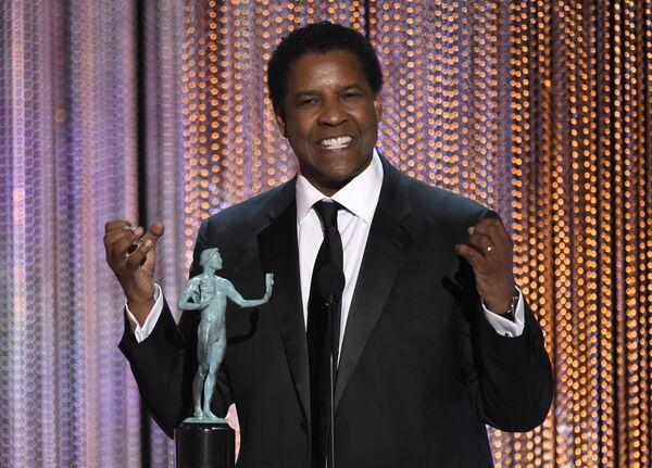 Дензел Вашингтон на церемонии вручения премии Гильдии киноактеров США в Лос-Анджелесе