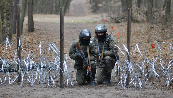Военнослужащие Национальной гвардии Украины во время обучения по методике НАТО