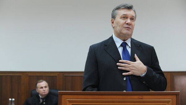 Виктор Янукович в Ростовском областном суде, где он дает показания по видеосвязи в качестве свидетеля по делу о беспорядках в Киеве. Архивное фото