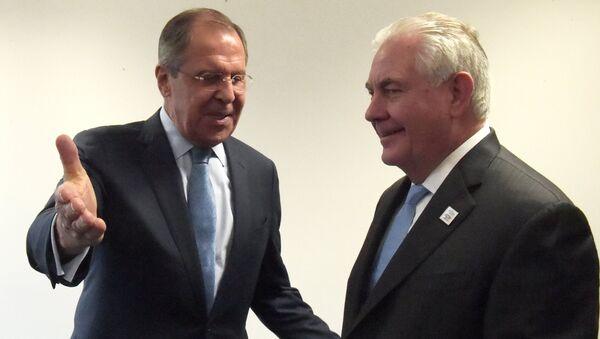 Сергей Лавров и государственный секретарь США Рекс Тиллерсон во время переговоров