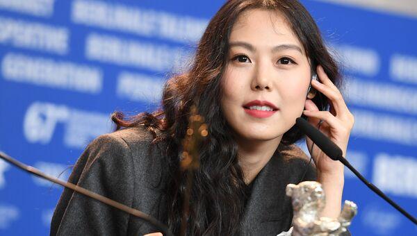 Актриса Ким Мин-хи, обладательница Серебряного медведя в номинации Лучшая актриса, на пресс-конференции в рамках 67-го Берлинского международного кинофестиваля Берлинале - 2017