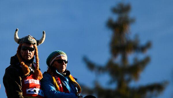 Болельщики во время спринта среди женщин чемпионата мира по биатлону в австрийском Хохфильцене