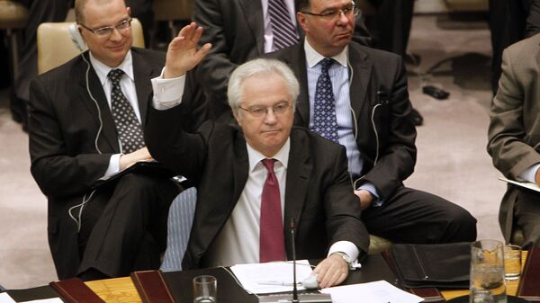 Постоянный представитель России при ООН Виталий Чуркин во время заседания Совета Безопасности