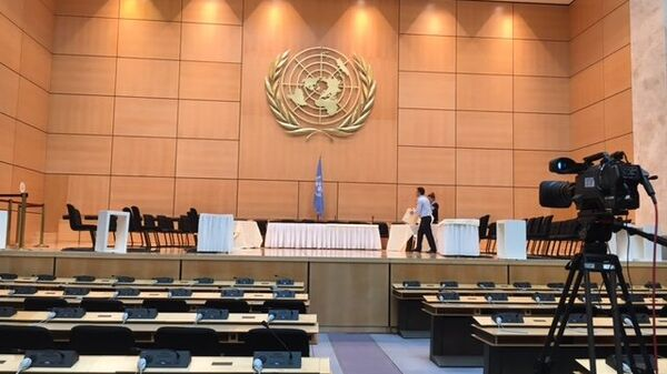 Зал генассамблеи в женевском офисе ООН