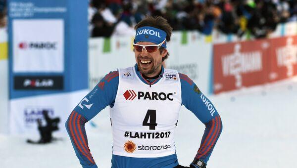 Сергей Устюгов (Россия) после финиша мужского скиатлона во время чемпионата мира по лыжным видам спорта Lahti2017 в финском Лахти
