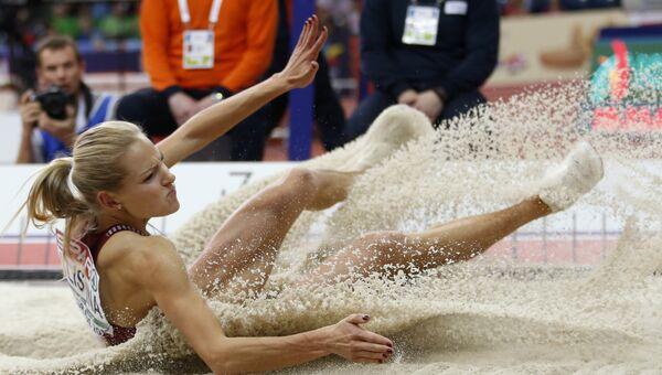 Российская прыгунья в длину Дарья Клишина в финале чемпионата Европы в помещении в Белграде, Сербия. 5 марта 2017