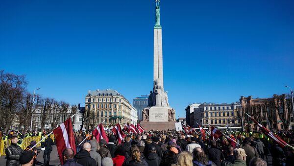 Участники марша ветеранов Ваффен СС и их сторонников в Риге