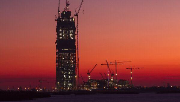 Вид на строительство многофункционального Лахта-центра в Санкт-Петербурге. Архивное фото