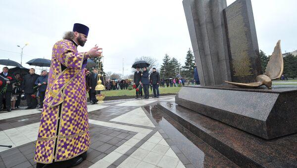 Церемония освящения памятника жертвам авиакатастрофы самолета Boeing 737 в Ростове-на-Дону