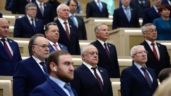 Сенаторы на заседании Совета Федерации РФ. 22 марта 2017