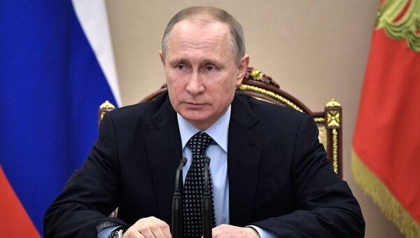 Президент РФ Владимир Путин проводит совещание с постоянными членами Совета безопасности РФ. 24 марта 2017