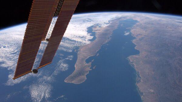 Вид на Калифорнийский полуостров и залив с Международной космической станции