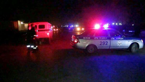 Кадры с места нападения на наряд ДПС в Астрахани, где погибли двое полицейских