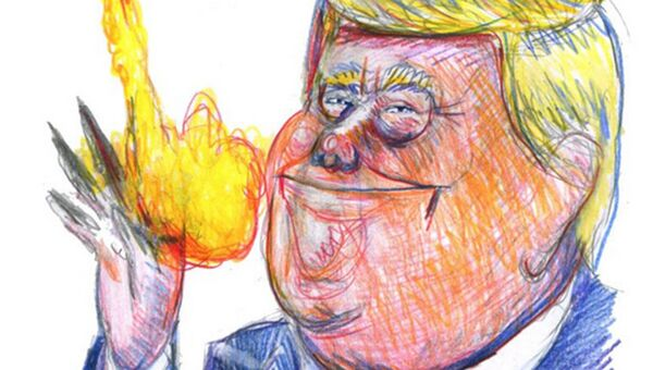 Карикатура Charlie Hebdo на Дональда Трампа в свете ракетного обстрела Сирии
