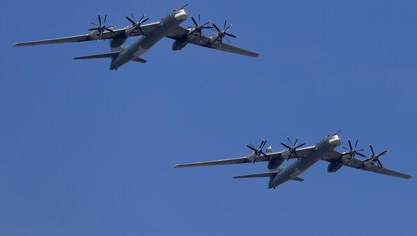 Стратегический бомбардировщик-ракетоносец Ту-95 ВКС России. Архивное фото