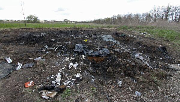 Место возле села Пришиб Славяносербского района Луганской народной республики, где 23 апреля 2017 года подорвался на мине автомобиль наблюдателей ОБСЕ. Архивное фото