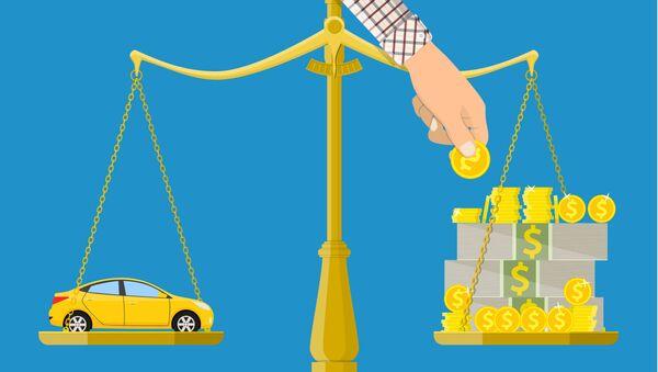 Автомобиль и деньги на весах