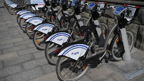 Велопарковка городского общественного проката велосипедов в Москве