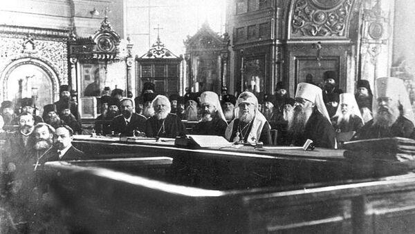 Заседание Поместного собора Русской православной церкви в Соборной палате Московского епархиального дома. 1917 год. Архивное фото