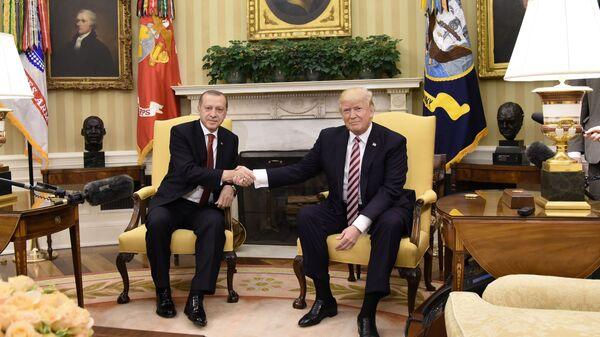 Президент США Дональд Трамп и президент Турции Реджеп Тайип Эрдоган во время встречи Вашингтоне. 16 мая 2017 года